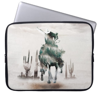 Rodeo - double exposure  - cowboy - rodeo cowboy laptop sleeve