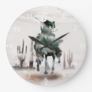 Rodeo - double exposure  - cowboy - rodeo cowboy large clock