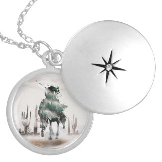 Rodeo - double exposure  - cowboy - rodeo cowboy locket necklace