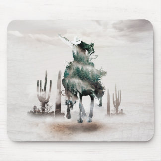 Rodeo - double exposure  - cowboy - rodeo cowboy mouse pad