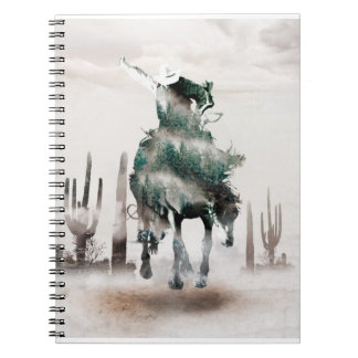 Rodeo - double exposure  - cowboy - rodeo cowboy notebook