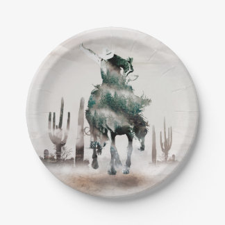 Rodeo - double exposure  - cowboy - rodeo cowboy paper plate