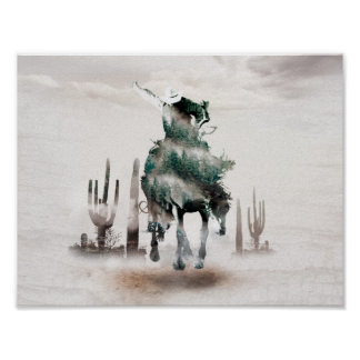Rodeo - double exposure  - cowboy - rodeo cowboy poster