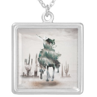 Rodeo - double exposure  - cowboy - rodeo cowboy silver plated necklace