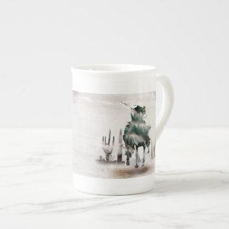 Rodeo - double exposure  - cowboy - rodeo cowboy tea cup