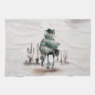 Rodeo - double exposure  - cowboy - rodeo cowboy tea towel
