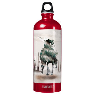 Rodeo - double exposure  - cowboy - rodeo cowboy water bottle