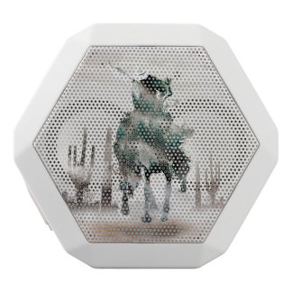 Rodeo - double exposure  - cowboy - rodeo cowboy white bluetooth speaker