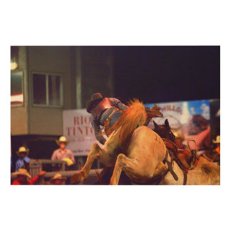 RODEO HORSE AND RIDER QUEENSLAND AUSTRALIA WOOD PRINT