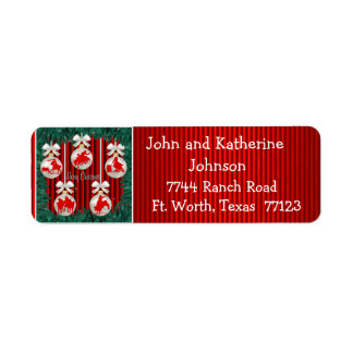 Rodeo Ornaments On Red Holiday Address Labels