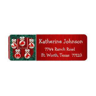 Rodeo Ornaments On Red Holiday Address Labels 2