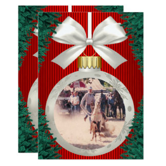 Rodeo Ornaments On Red Holiday Photo Card