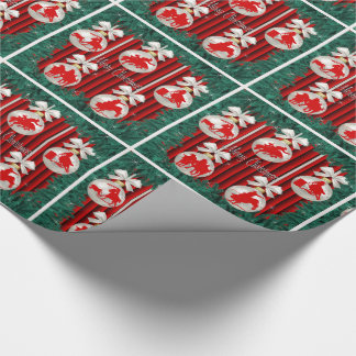 Rodeo Ornaments Wreath Border Red Background Wrapping Paper