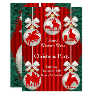 Rodeo Ornaments Wreath Border Red Invitation