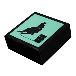 Rodeo Theme Cowgirl Barrel Racing Silhouette Large Square Gift Box