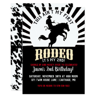 Rodeo Themed Second Birthday Card