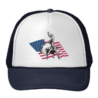 Rodeo USA - America, Cowboy Horse and flag Hats