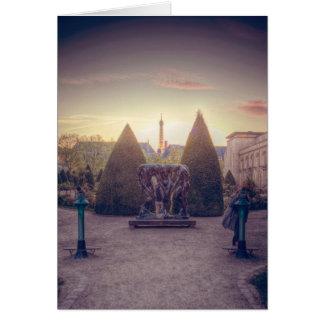 Rodin jardin du musée à l'heure d'or card