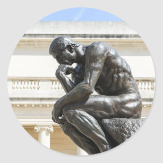 Rodin Thinker Statue Round Sticker