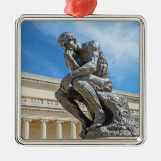 Rodin Thinker Statue Silver-Colored Square Decoration