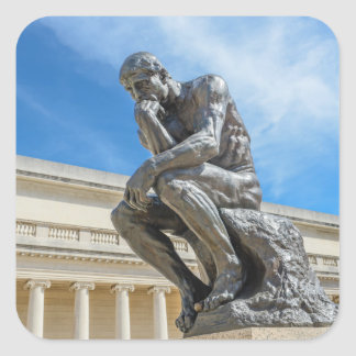 Rodin Thinker Statue Square Sticker