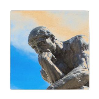 Rodin Thinker Statue Wood Coaster