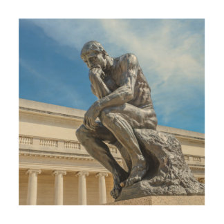 Rodin Thinker Statue Wood Print