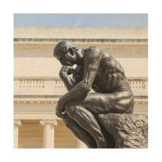 Rodin Thinker Statue Wood Wall Art