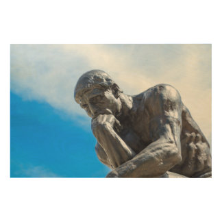 Rodin Thinker Statue Wood Wall Decor