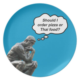 Rodin's Thinker - Pizza or Thai Food? Party Plate