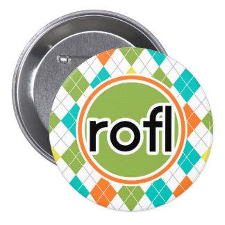 rofl; Colorful Argyle Pattern Pin