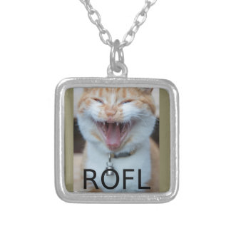 ROFL Laughing Kitty Cat Silver Plated Necklace