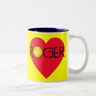 ROGER with Heart and Tennis Ball Coffee Mug