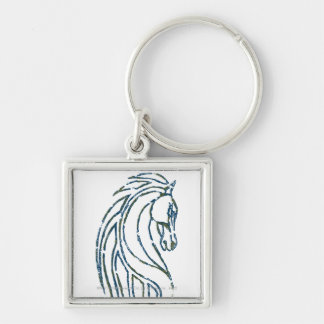 Rohan Kings Hall Banner Silver-Colored Square Key Ring