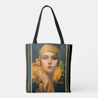 "Rolf  Armstrong Deco ""Flower of the Orient"" Tote"