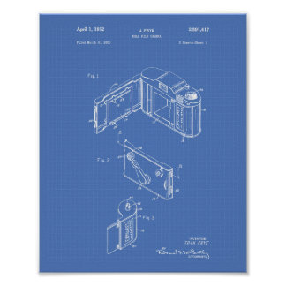 Roll Film Camera 1952 Patent Art - Blueprint Poster