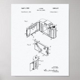 Roll Film Camera 1952 Patent Art - White Paper Poster