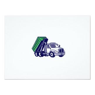 Roll-Off Truck Bin Truck Cartoon 17 Cm X 22 Cm Invitation Card