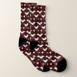 Rolled-Over Dotted Maroon Printed Socks