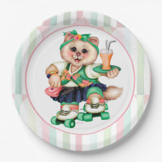 ROLLER CAT CUTE 2 CARTOON  Paper Plates 9""
