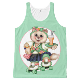 ROLLER CAT  CUTE 5 AllOver Printed Unisex Tank All-Over Print Tank Top