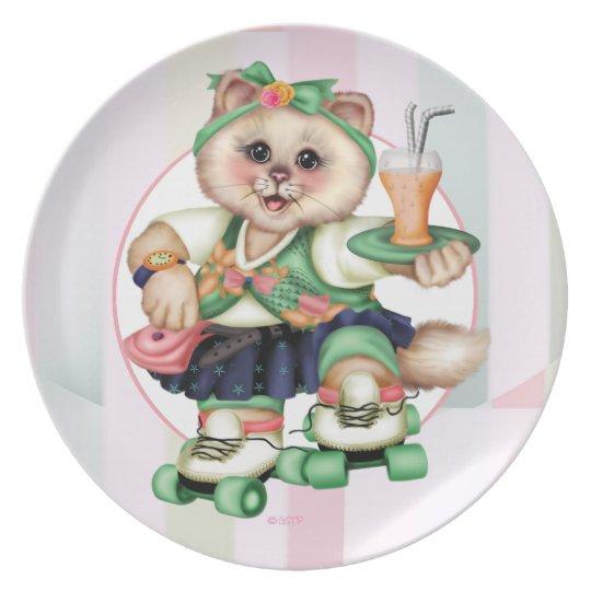 ROLLER CAT CUTE Melamine Plate