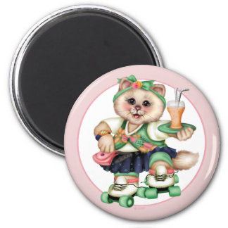 ROLLER CAT CUTE Square Magnet Small, 2¼ Inch