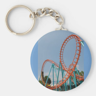 roller coaster basic round button key ring