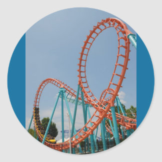 roller coaster classic round sticker
