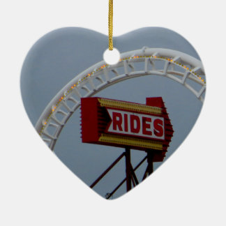 Roller coasters and rides ceramic heart decoration