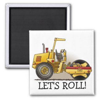 Roller Construction Square Magnet Let's Roll