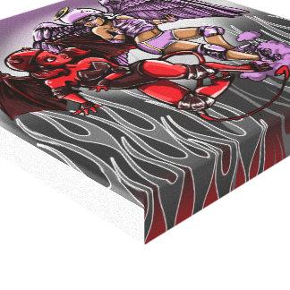 Roller Derby Angel v Devil Digital painting Canvas Prints
