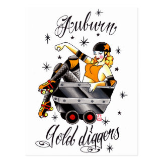 Roller Derby - Auburn Gold Diggers Logo Post Card