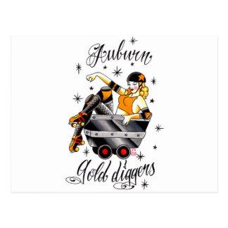 Roller Derby - Auburn Gold Diggers Logo Post Cards